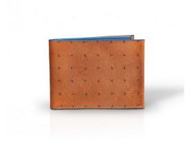 Carteira Masculina de Couro Urban V. Caramelo e Azul Vbrüm
