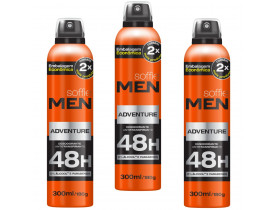 Kit 3 Desodorante Aerosol Men Adventure Soffie - 300ml | New Old Man
