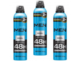 Kit 3 Desodorante Aerossol Men Cool Soffie - 300ml