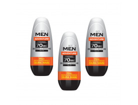 Kit 3 Desodorante Rollon Men Adventure Soffie - 70ml | New Old Man