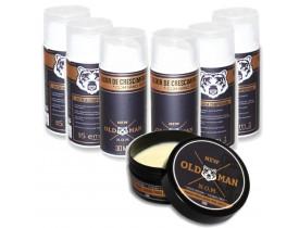 Kit 6 Elixir de Crescimento de Barba + Pomada Modeladora Para Cabelo Extra Forte Efeito Natural New Old Man