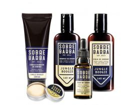 Kit Shampoo, Balm, Óleo, Condicionador Para Barba e Cera de Bigode Jungle Boogie Sobrebarba
