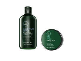 Kit Paul Mitchell Tea Tree Shampoo Lavander + Cera Para Cabelo Shaping Cream | New Old Man
