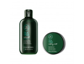 Kit Paul Mitchell Tea Tree Shampoo Special + Cera Para Cabelo Shaping Cream | New Old Man