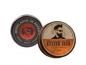 Kit  Pomada Pra Cabelo Efeito Seco e Modelador Para Barba - Barba de Respeito | New Old Man