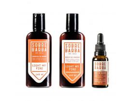 Kit Shampoo, Balm e Óleo Para Barba Light My Fire Sobrebarba