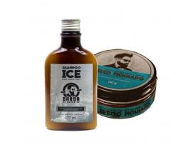 Kit Shampoo Ice e Pomada Modeladora Para Cabelo Efeito Molhado Barba de Respeito