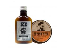 Kit Shampoo Ice e Pomada Modeladora Para Cabelo Efeito Seco Barba de Respeito | New Old Man