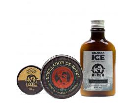 Kit Shampoo Ice, Modelador Para Barba e Cera de Bigode Barba de Respeito | New Old Man
