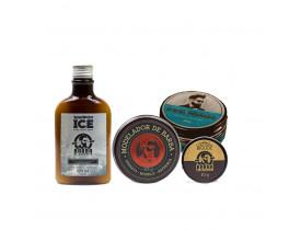 Kit Modelador + Limpeza - Shampoo Ice, Modelador Para Barba, Cera de Bigode e Pomada Modeladora Para Cabelo Efeito Molhado Barba de Respeito | New Old Man