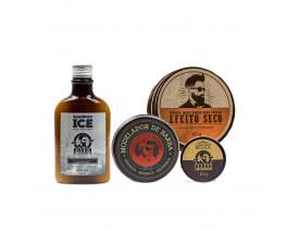 Kit Modelador + Limpeza - Shampoo Ice, Modelador Para Barba, Cera de Bigode e Pomada Modeladora Para Cabelo Efeito Seco Barba de Respeito | New Old Man
